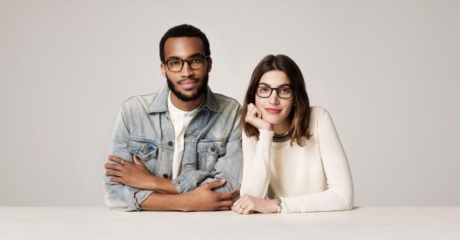 Warby Parker Eyeglasses - Brooks Oak Barrel and Arthur Jet Black